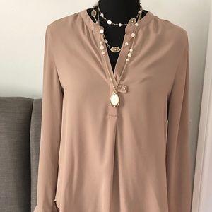 Camel/tan blouse. Build your work wardrobe!